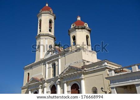 Purisima Concepcion Cathedral, Cienfuegos, Cuba - stock photo