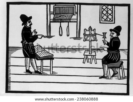 Puritans, 'Two Upstart Prophets', woodcut depicting sectarian preacher and a weaver, 1631,
