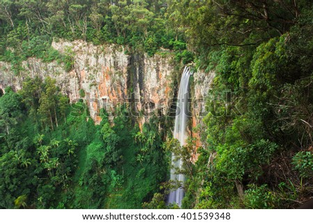 Purling brook Falls at Springbrook National Park in Queensland. - stock photo