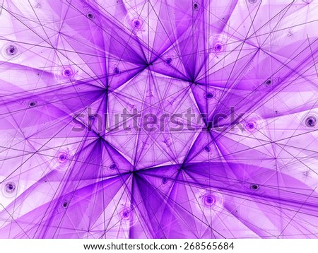 purple abstract fractal fantasy background with light rays - stock photo