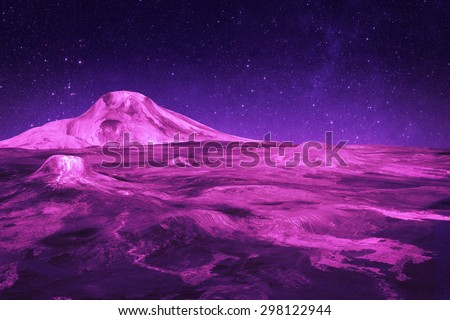 Purple Alien World - Elements of this Image Furnished by NASA - stock photo