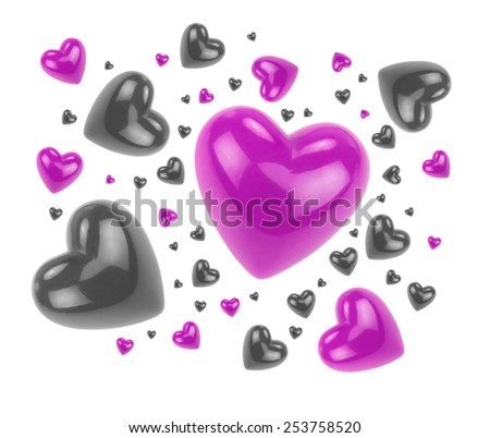 Purple and black love hearts isolated on white background. - stock photo