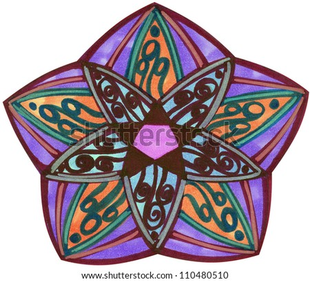Purple and blue abstract starfish illustration over white - stock photo