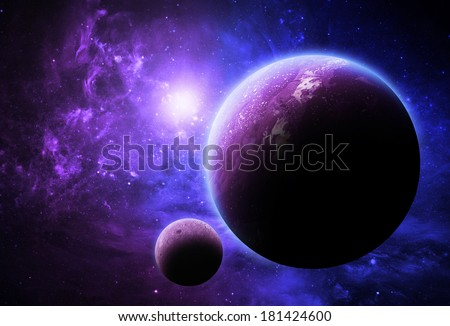 Purple and Blue Planet - Elements of This Image Furnished By NASA - stock photo