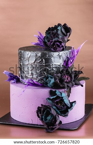 Purple Dark Silver Tiered Wedding Cake Stock Photo Royalty Free