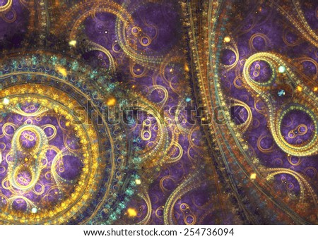 Purple and gold  abstract mechanical fractal - stock photo