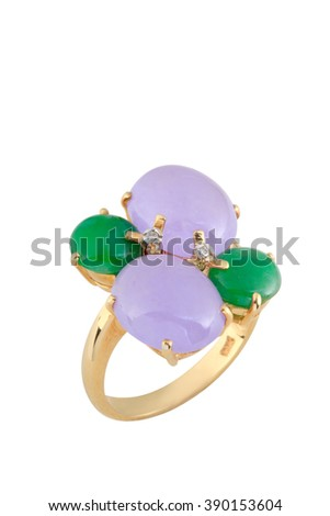 Purple and green jade gold ring isolated on white background. - stock photo