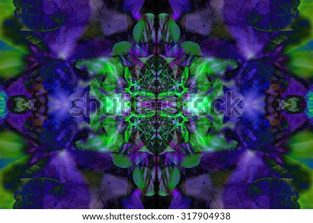 Purple and green kaleidoscope flower pattern - stock photo