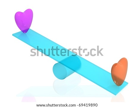 Purple and orange hearts on blue seesaw with white isolated background. 3D render. - stock photo