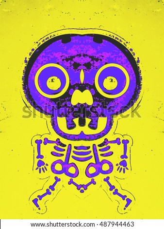 purple and pink bone structure and skull with yellow background