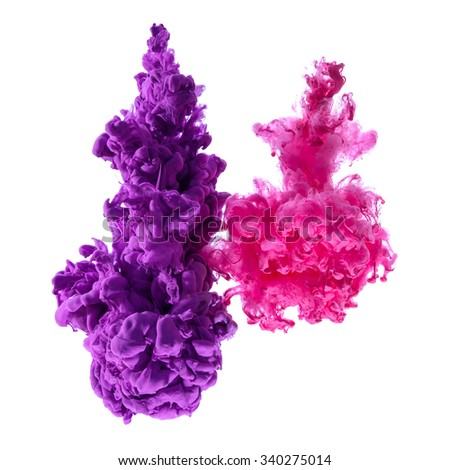 Purple and pink ink splash clouds in water, isolated on white background - stock photo
