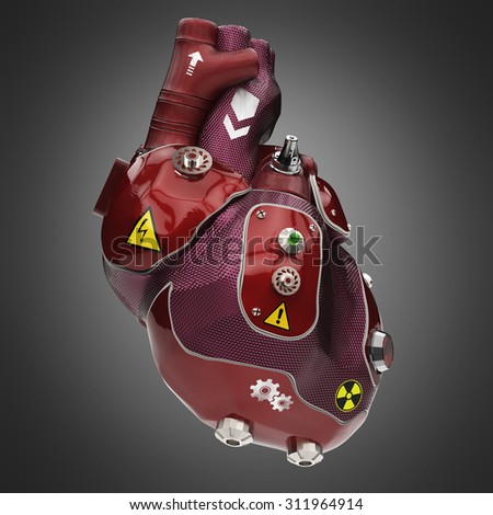 purple and red car paint cyborg techno heart with warning signs - stock photo