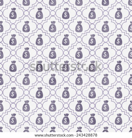 Purple and White Money Bag Repeat Pattern Background that is seamless and repeats - stock photo