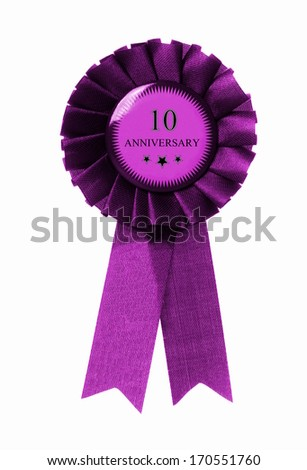 purple award with the text 10 anniversary on it - stock photo