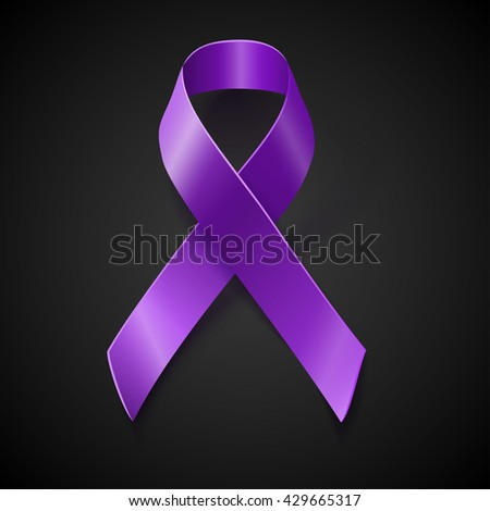 Purple awareness realistic ribbon over black background with drop shadow