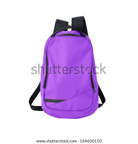 Purple backpack / back pack / school bag / rucksack isolated on white. Study concept