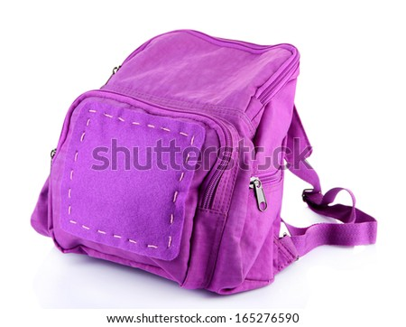 Purple backpack supplies isolated on white