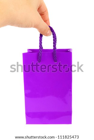 purple bag and Caucasian hand