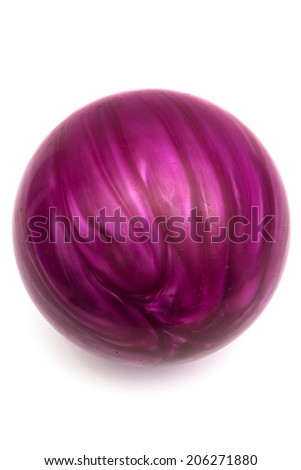 purple ball game in bowling on a white background - stock photo