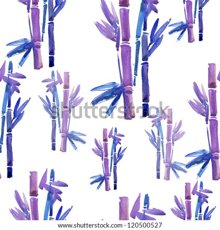 purple bamboo pattern. watercolor