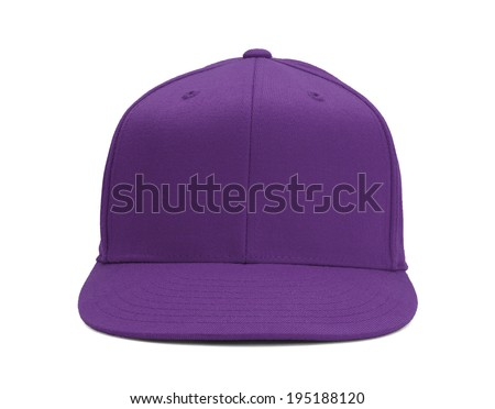 Purple Baseball Hat Front View With Copy Space Isolated on White Background.
