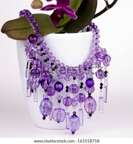 Purple beads - stock photo