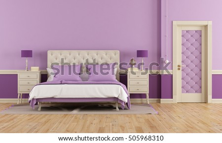 Purple bedroom in classic style with double bed and closed door-3d rendering