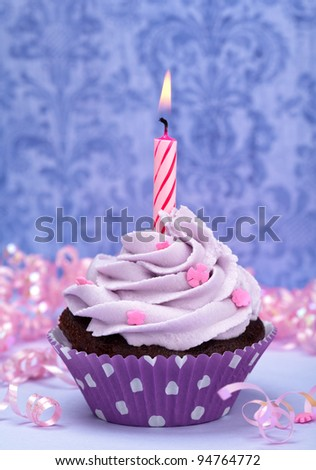 Purple Birthday Cupcake - stock photo