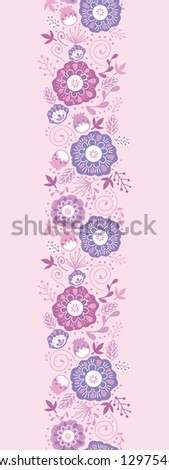 Purple Blossom Flowers Vertical Seamless Pattern Border Raster - stock photo