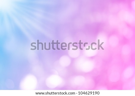 purple, blue and pink pastel colorful background bokeh blurred and morning lights background - stock photo