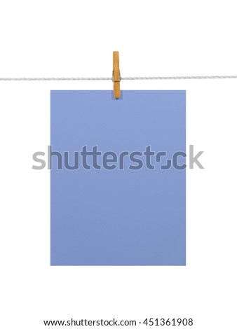 Purple-blue blank paper sheet on a clothes line. Isolated on white background. Contains two clipping paths: 1) paper, clothes line and clothespin; 2) paper only