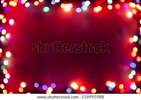 purple bokeh lights frame - stock photo