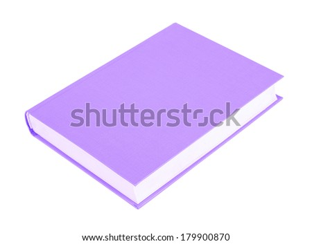 Purple book with blank hardcover lying isolated on white background