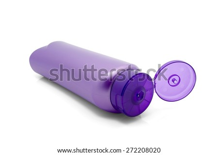 Purple bottle isolated on white background. - stock photo