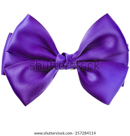 Purple bow close up on white isolated on white background - stock photo