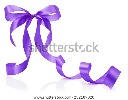 purple bow isolated on the white background - stock photo