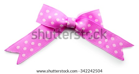 Purple bow isolated on white - stock photo