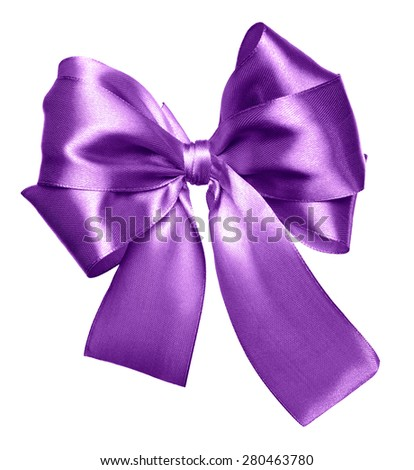 purple bow made from silk isolated - stock photo