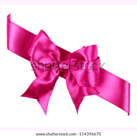 purple bow made from silk ribbon isolated - stock photo