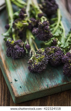 Purple broccoli flowers, clean eating concept