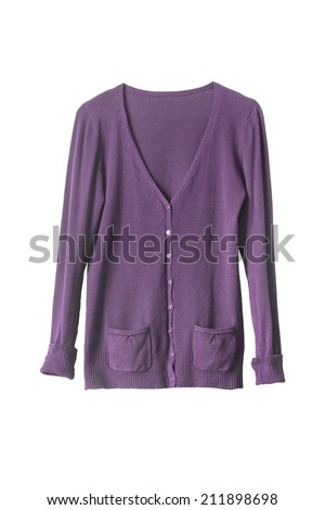 Purple buttoned cardigan on white background - stock photo
