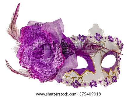 Purple carnival mask bow decoration flowers border isolated white background side view - stock photo