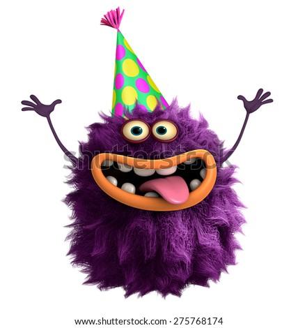 purple cartoon hairy monster 3d - stock photo