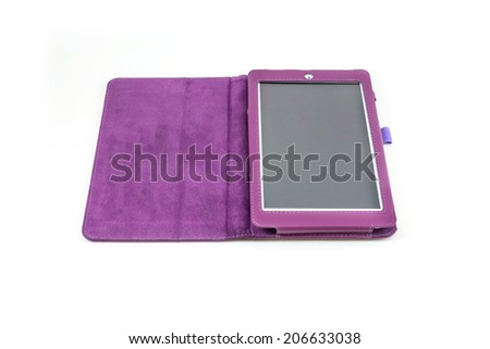 purple case with tablet - stock photo