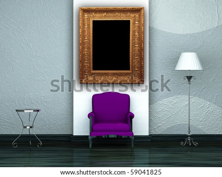 Purple chair with table, stand lamp and picture frame in minimalist interior - stock photo