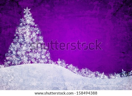 Purple christmas background with snowflakes and pine tree - stock photo