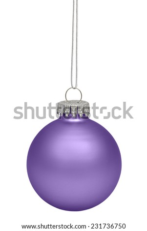 Purple christmas ball isolated on white background - stock photo
