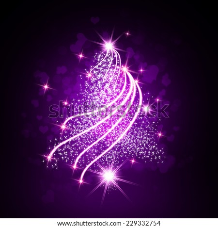 Purple Christmas tree with sparkle light background. - stock photo