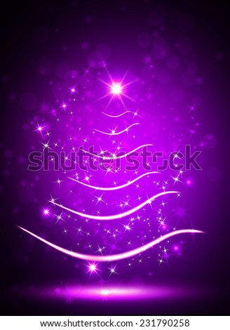 purple christmas tree with sparkle light background - Purple Christmas Tree