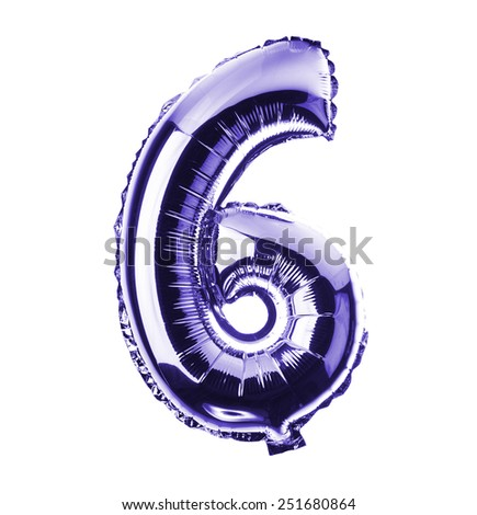 Purple Chrome balloon font part of full set of numbers, number six, 6 - stock photo